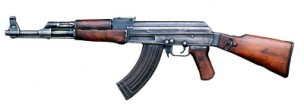 AK-47 non-firing replica of Tactical Assault Rifle with wooden stock, banana ammo clip