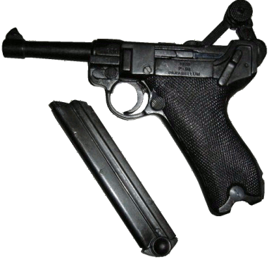 Luger P08 Parabellum replica with the clip out and the firing arm in the up position.